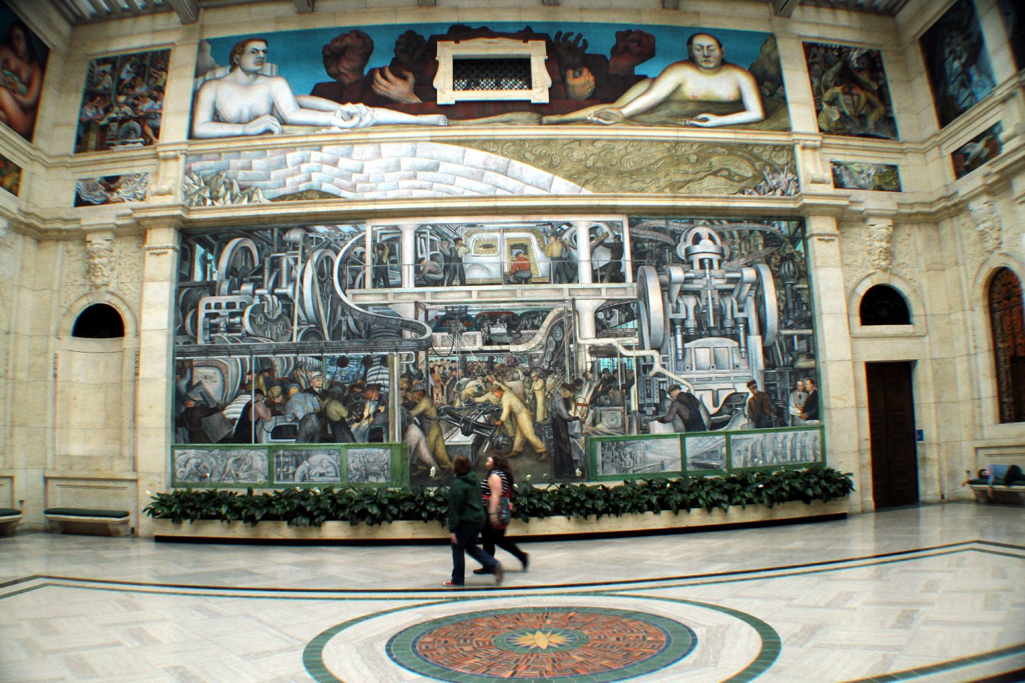 Vista do 'Detroit Industry',  mural pintado por Diego Rivera em homenagem à indústria automotiva de Detroit  (foto: Eduardo Vessoni)