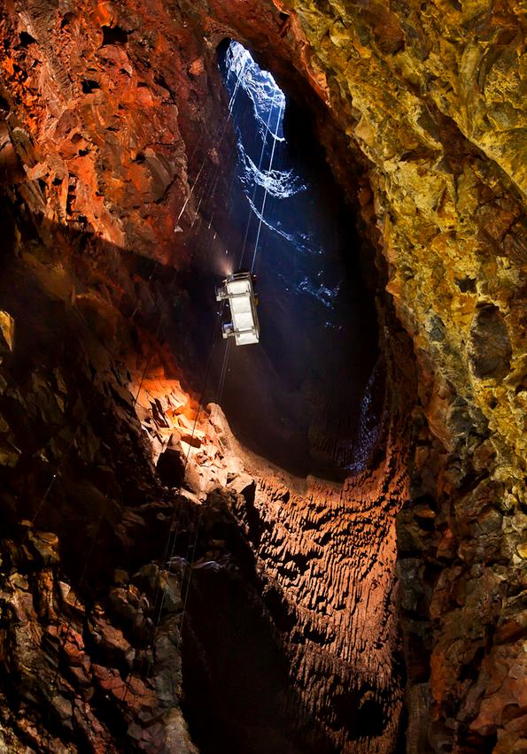 A câmara de magma do vulcão Thrihnukagigur é um a das atrações em seu interior (foto: K. Maack/Inside Volcano)