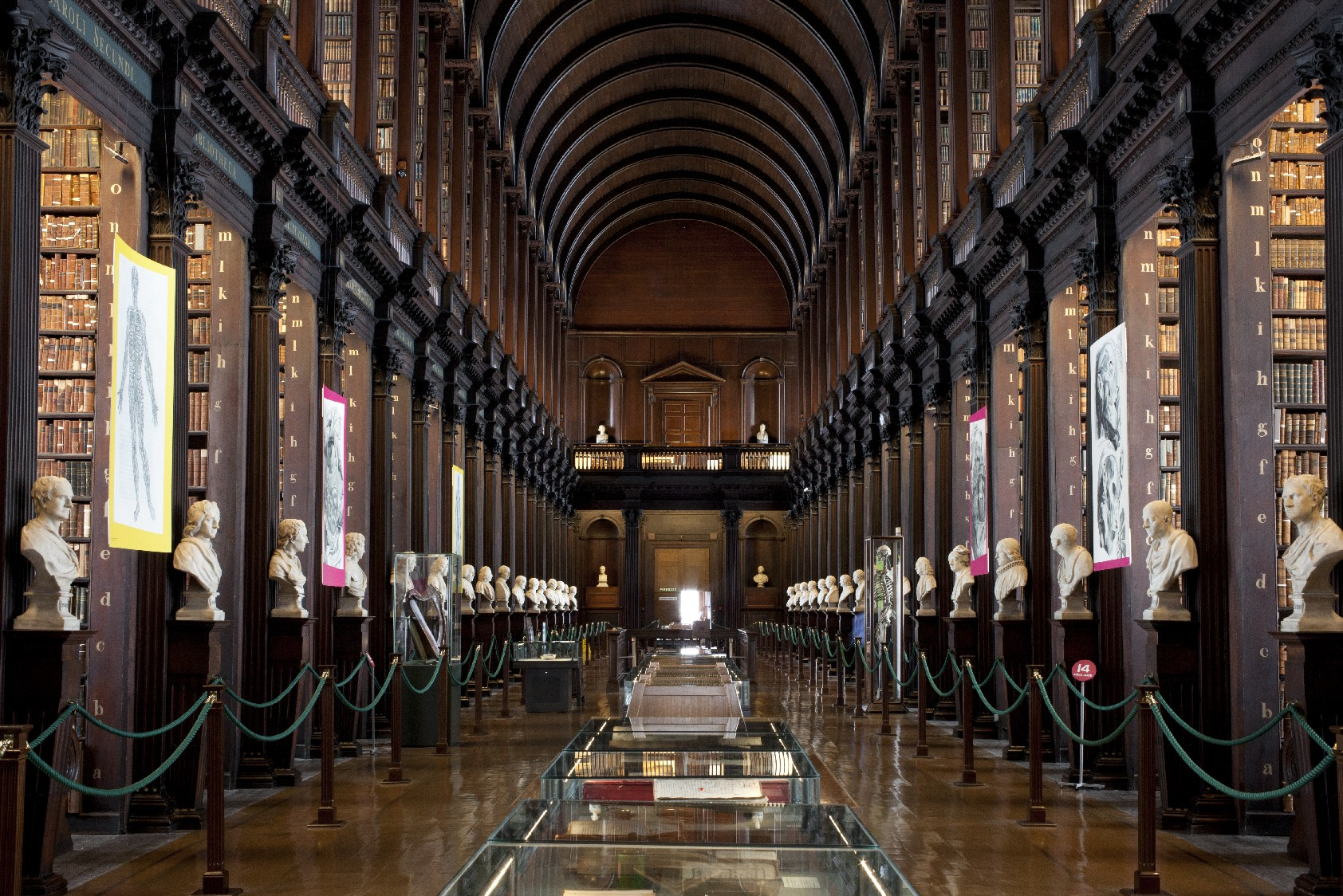 Bustos de filósofos e escritores como Francis Bacon, Isaac Newton e Sócrates podem ser vistos na Long Room, em Dublin (foto: Trinity College Dublin / Gillian Whelen)