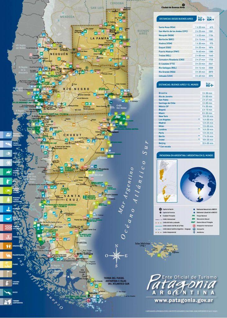 Mapa das províncias argentinas que formam a Patagônia (imagem: patagonia.gov.ar)