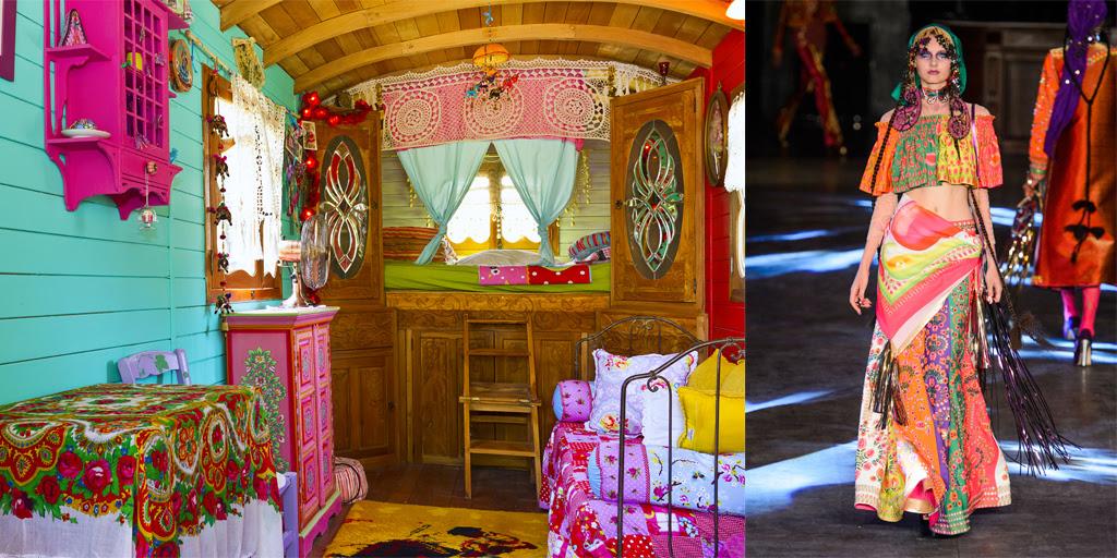 A blusa cropped e a saia estampados por Manish Arora inspiram a decoração desse trailer cigano, localizado em Paradou, na região da Provença-Alpes-Costa Azul, no sul da França. O casal paga R$ 531 por noite de hospedagem (foto: Divulgação/Airbnb)