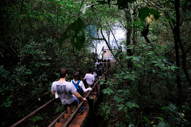 Escada de acesso à Lagoa Misteriosa. em Bonito (foto: Beto Nascimento/Divulgação)